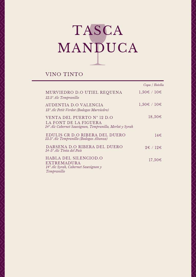 Carta de vinos 1